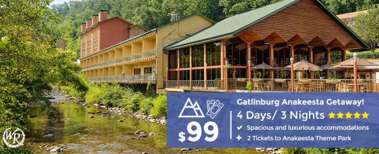 4-Day/3-Night Gatlinburg Resort Getaway + Anakeesta Theme Park Tickets – Limited Time Offer $99