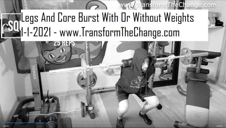 Legs & Core Burst!  Home or Gym Workout With Or Without Squat Rack